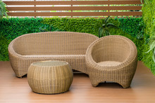A Sofa Set Made Of Rattan Is Placed On The Living Terrace Decorated In Imitation Of Nature.