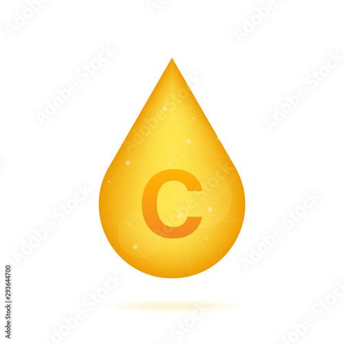 Vitamin C gold shining icon. Ascorbic acid. Vector illustration Wallpaper Mural