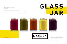 Glass Jars With With Jam, Configure Or Honey. Vector Illustration. Packaging Collection. Bank Realistic. Mock Up Jam Jars Without Design Labels .