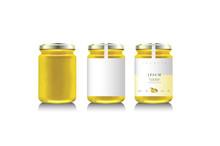 Realistic Glass Bottle Packaging For Fruit Jam Design. Lemon Jam With Design Label, Typography, Line Lemon Or Citrus Icon. Mock Up.