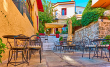 Street Cafe In Plaka District In Athens