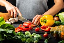 Woman's Hands Prepare Vegetari...