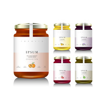 Glass Jars With With Jam, Configure Or Honey. Vector Illustration. Packaging Collection. Label For Jam. Bank Realistic. Mock Up Jam Jars With Design Labels Or Badges.