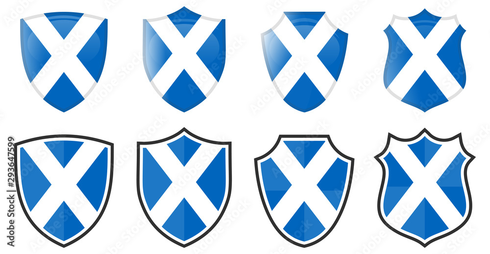 Fototapeta Scotland flag in shield shape, four 3d and simple versions. Scottish icon / sign