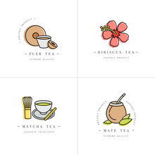 Vector Set Design Colorful Templates Logo And Emblems - Organic Herbs And Teas . Different Teas Icon-puer, Hibiscus, Mate And Matcha. Logos In Trendy Linear Style Isolated On White Background.