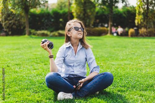 Obraz Teenage girls with portable speaker - fototapety do salonu
