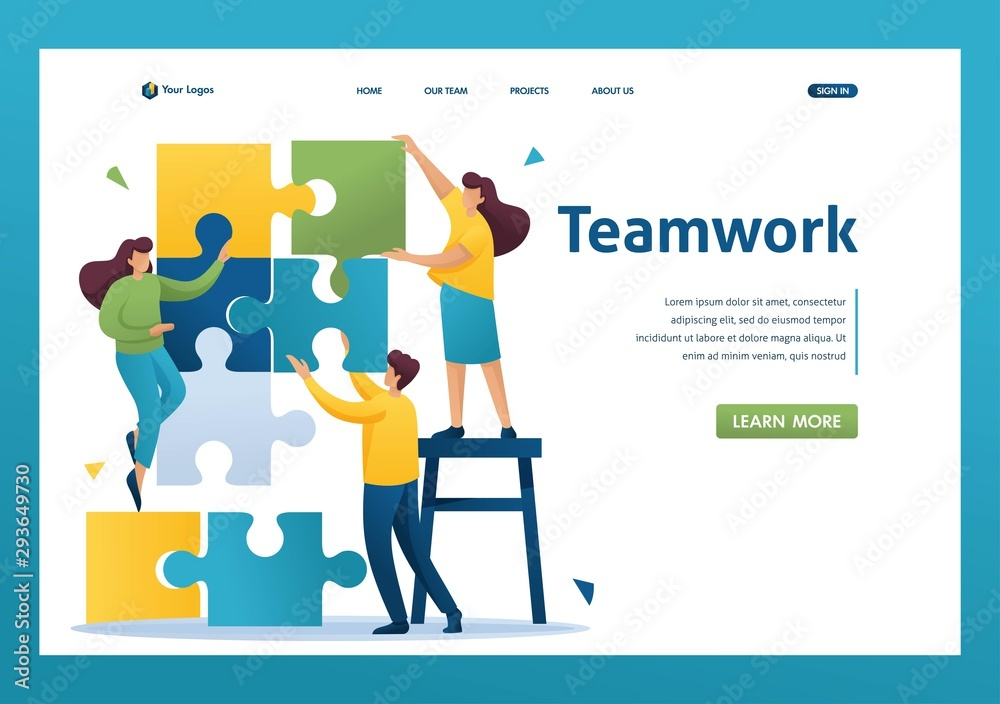 Fototapeta Young people connecting puzzle elements, teamwork, cooperation, partnership. Flat 2D character. Landing page concepts and web design