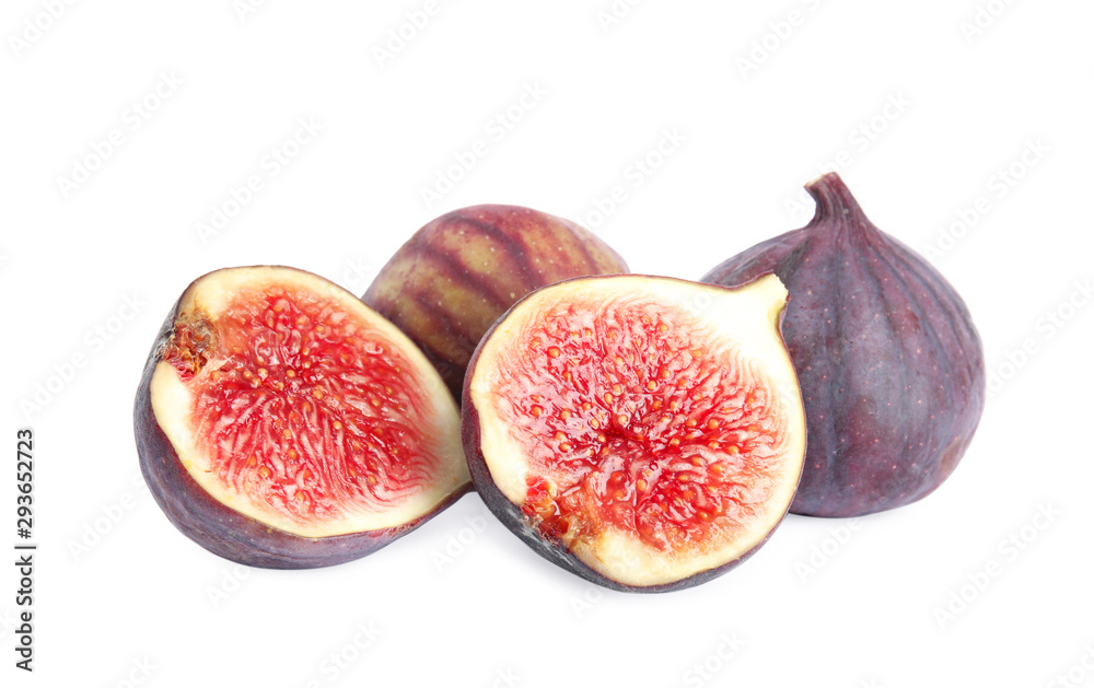 Fototapety, obrazy: Tasty fresh fig fruits on white background