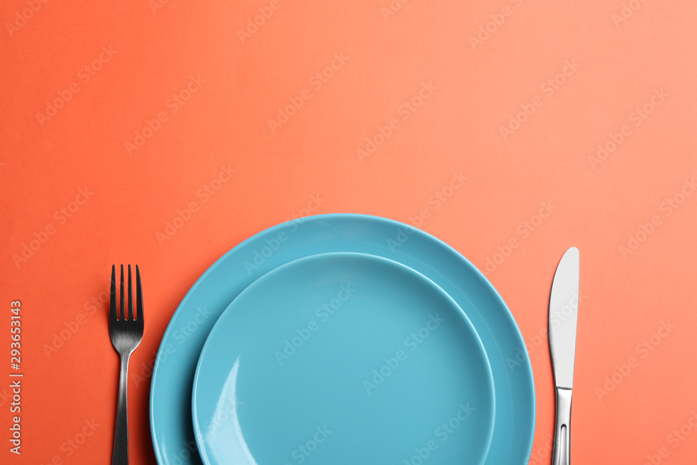 Fototapety, obrazy: Elegant table setting on orange background, flat lay. Space for text
