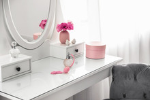 White Dressing Table Near Wind...