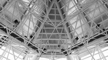 Structure Of Steel Roof Frame For Building Construction. Roof Trusses Design Indoors