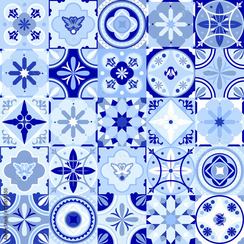 Fototapeten Künstlich Vintage seamless pattern in Portugal style. Azulejo. Seamless patchwork tile in blue and white colors. Endless pattern can be used for ceramic tile, wallpaper, linoleum, textile, web page background