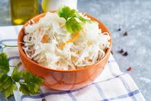 Homemade Sauerkraut With Seasonings In An Orange Bowl. Natural Probiotics, Healthy Food