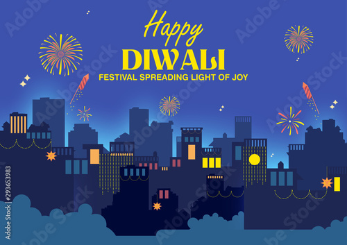 Photo  illustration of Firework on Indian cityscape for Happy Diwali Holiday background