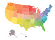 Blank map of USA, United States of America, in colors of rainbow spectrum
