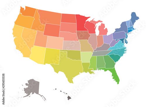 Fototapeta Blank map of USA, United States of America, in colors of rainbow spectrum obraz