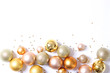 canvas print picture - A lot of beautiful decorative Christmas balls on a white background, top view with place for insertion of text.