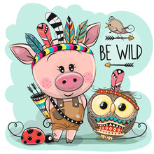Cartoon Tribal Pig And Owl Wit...