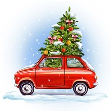 Christmas Tree On The Car, Decorative Christmas Ornament, Art Illustration Painted With Watercolors Isolated On White Background