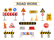 Road Work Signs Flat Illustrat...
