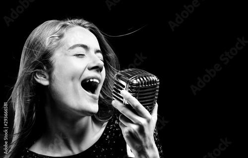 Elegant woman singing , close up - 293666581