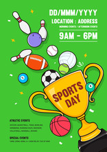 Sports Day Poster Invitation Vector Illustration. Trophy With Sport Equipments On Green Background.