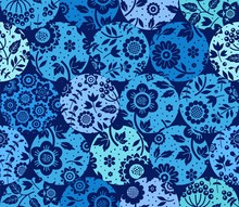 Floral Blue Pattern On Blue Circles, Seamless, Flat, Vector. Fabulous Decor. Colored, Floral Ornament.
