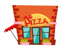 Pizzeria Building Flat Vector ...