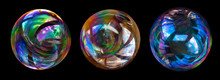 Soap Bubbles Isolated On Black...