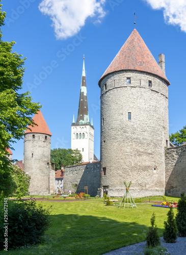 Photo  St. Olaf's Church tower and Walls of Tallinn, Estonia