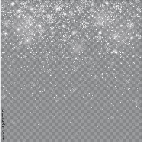 Fototapeten Künstlich Seamless realistic falling snow or snowflakes. Isolated on transparent background - stock vector.