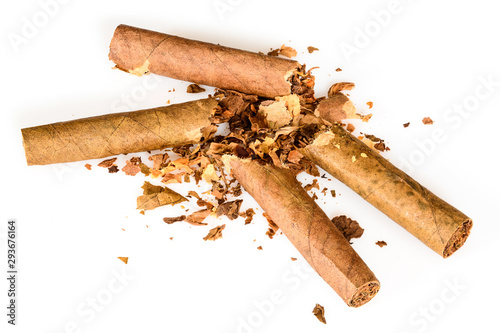 Broken two tobacco cigarillos as a concept of quitting smoking Wallpaper Mural
