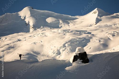 Man standing on snowy landscape