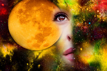 Full Moon In Space And Woman
