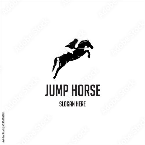 Fotografía  jump horse silhouette logo vector