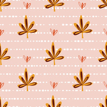 Seamless Pattern With Autumn Maple Leaves. Vector Background Fall Nature Elements. Repeating Backdrop Pink Red Orange Fabric, Cover, Thanksgiving, Digital Scrapbooking