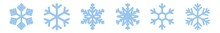 Snowflake Icon Blue | Snowflakes | Ice Crystal Winter Symbol | Christmas Logo | Xmas Sign | Variations
