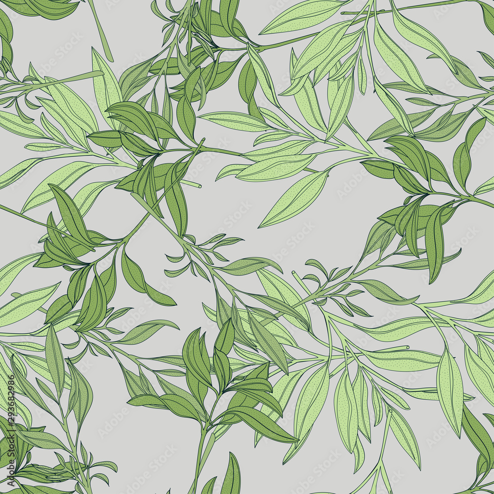 Vector seamless pattern with hand painted watercolor sage branches. Beautiful design elements. <span>plik: #293682986 | autor: Анна Головина</span>