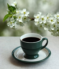 Green Cup Of Black Espresso Coffee And A Blooming Apricot Branch In The Garden