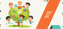 Colorful Abstract Banner For Children Education