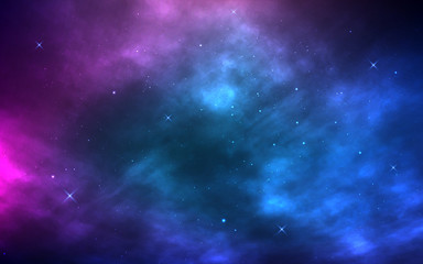 Space background. Realistic cosmos with nebula and shining stars. Milky way and stardust. Starry night and color galaxy. Magic Infinite universe. Vector illustration