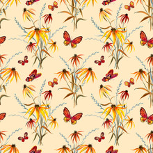 Seamless Pattern Of Abstract Floral Bouquets And Butterflies On A Beige Background, Watercolor Print For Fabric, Background For Various Designs.