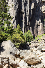 Dried Up River Bed And Boulders Exposed In Yosemite Valley California