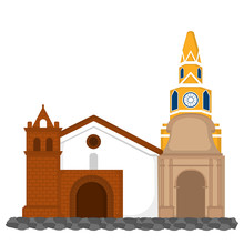 Clock Tower With Church Image - Vector Illustration
