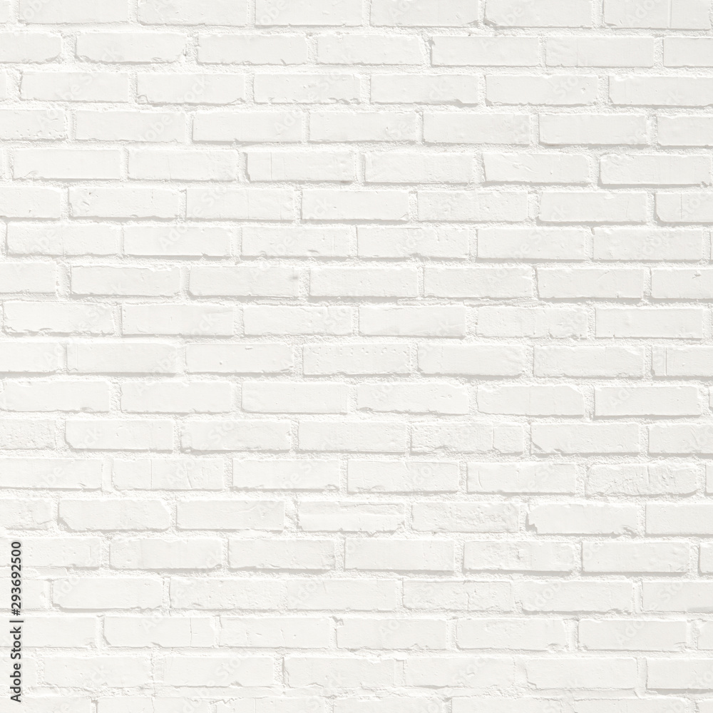 White brick wall background. Neutral texture of a flat brick wall close-up.