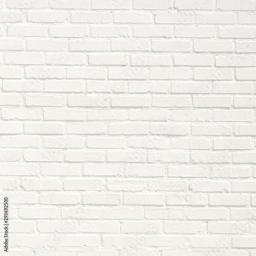 White brick wall background. Neutral texture of a flat brick wall close-up. - 293692500
