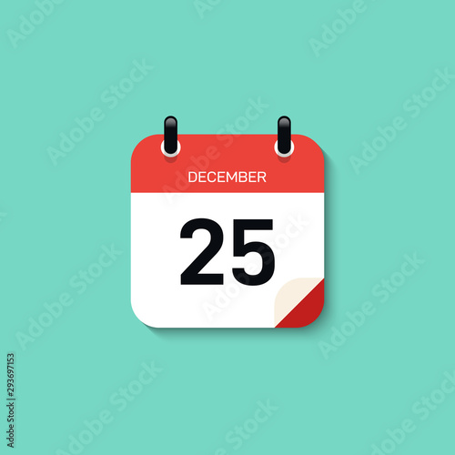 Calendar icon minimal modern flat design style with long shadow Canvas Print