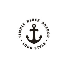 Simple Anchor Silhouette Vintage Retro Stamp Logo Design For Boat Ship Navy Nautical Transport