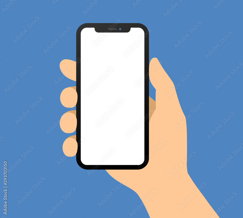 Fototapeta Human hand holding bezel-less smartphone / mobile cellular phone flat vector illustration