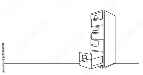 Fotomural  continuous line drawing of big office file cabinet